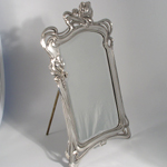 ART NOUVEAU SILVERED PEWTER MIRROR